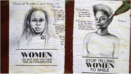 Two posters featuring drawing of women and text reading 'Women do not owe you their time or conversations'.