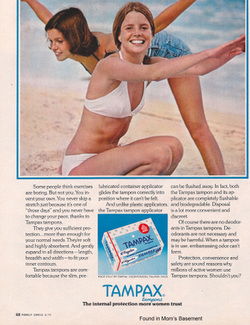 Vintage tampax commercial showing two young women having fun on a beach.