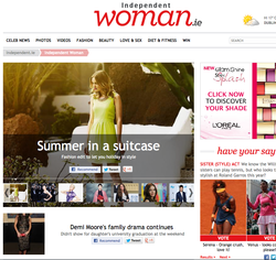Screenshot of the independent woman .ie webpage featuring fashiona and celebrity gossip stories and images